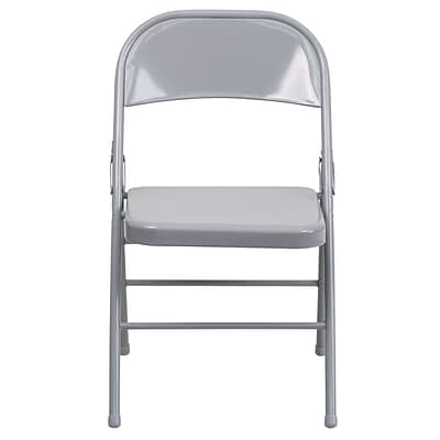 Flash Furniture  Hercules Series Triple-Braced, Double-Hinged Metal Folding Chair, Gray HF3MC309ASGY