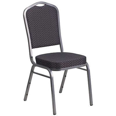Flash Furniture Hercules Crown-Back Stacking Banquet Chair, Black-Patterned Fabric, 2.5 Seat, Silver Vein Frame (HFC01SVE26BK)
