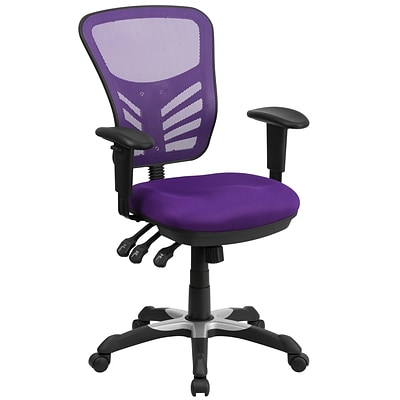 Flash Furniture Mid-Back Mesh Swivel Task Chair with Triple Paddle Control, Purple (HL0001PUR)