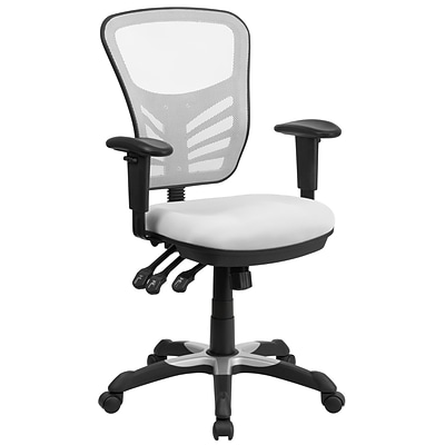 Flash Furniture Mid-Back Mesh Swivel Task Chair in White with Triple Paddle Control (HL0001WH)