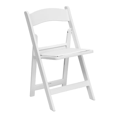Flash Furniture Hercules 1000lb-Capacity Resin Folding Chair with Vinyl Padded Seat, White (LEL1WHITE)