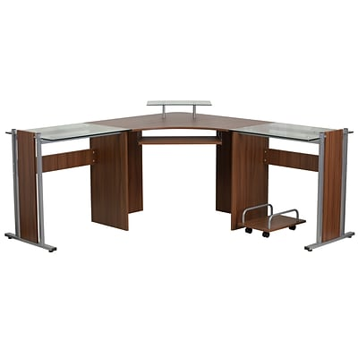 Flash Furniture Nanwk105 Corner Desk With Pull Out Keyboard Tray And Cpu Cart Teakwood Laminate Quill