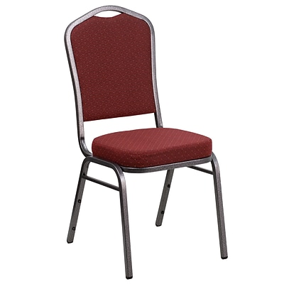 Flash Furniture Hercules Crown-Back Stacking Banquet Chair; Burgundy Fabric 2.5 Seat, Silver Vein