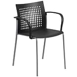 Flash Furniture Hercules Series 551lb-Capacity Stack Chair with Air-Vent Back and Arms, Black (RUT1B