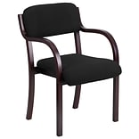 Contemp Blk Fabric Side Chair w/Mahog Frame