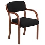 Blk Fabric Contemp Side Chair Walnut Frame