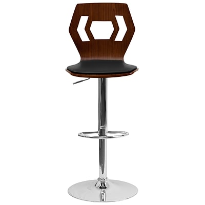 Flash Furniture Walnut Bentwood Adjustable-Height Barstool w/Black Vinyl Seat and Cutout Back