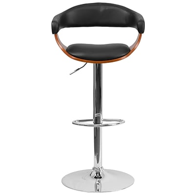 Flash Furniture Bentwood Adjustable Height Barstool; Walnut with Black Vinyl Upholstery (SD21782WAL)