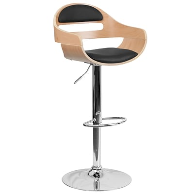 Flash Furniture Adjustable-Height Beech Bentwood Barstool, Black Vinyl Seat, Cutout Padded Back