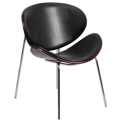 Flash Furniture Bentwood Leisure Reception Chair, Mahogany with Black Leather Upholstery (SD2268A7)
