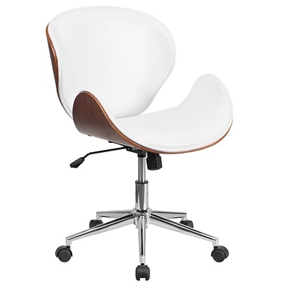 Flash Furniture SDSDM22405WH Mid-Back Walnut Wood Swivel Conference Chair in White Leather