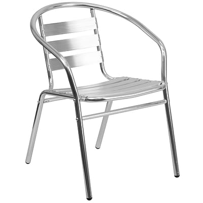 Flash Furniture Aluminum Commercial Indoor/Outdoor Restaurant Stack Chair, Triple-Slat Back TLH017B
