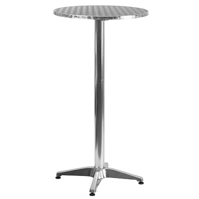 Flash Furniture 25.5 Round Aluminum Indoor/Outdoor Folding Bar-Height Table with Base (TLH059A)