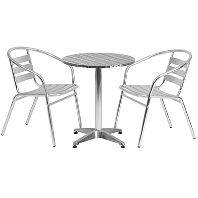 Flash Furniture 23.5 Round Aluminum Indoor/Outdoor Table with 2 Slat-Back Chairs (TLH24RD017BCHR2)
