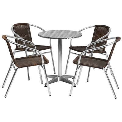 Flash Furniture 23.5 Round Aluminum Indoor/Outdoor Table with 4 Rattan Chairs (TLH24RD020CHR4)