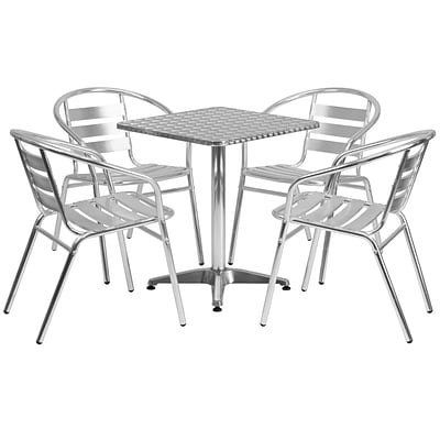 Flash Furniture 23.5 Square Aluminum Indoor/Outdoor Table w/4 Slat-Back Chairs (TLH24SQ017BCHR4)