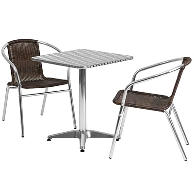 Flash Furniture 23.5 Square Aluminum Indoor/Outdoor Table with 2 Rattan Chairs (TLH24SQ020CHR2)