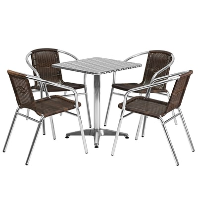 Flash Furniture 23.5 Square Aluminum Indoor-Outdoor Table; 4 Rattan Chairs (TLH24SQ020CHR4)