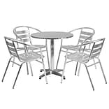 Flash Furniture 27.5 Round Aluminum Indoor/Outdoor Table with 4 Slat-Back Chairs (TLH28RD017BCHR4)
