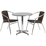 Flash Furniture 27.5 Round Aluminum Indoor/Outdoor Table with 2 Rattan Chairs (TLH28RD020CHR2)
