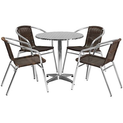 Flash Furniture 27.5 Round Aluminum Indoor/Outdoor Table with 4 Rattan Chairs (TLH28RD020CHR4)
