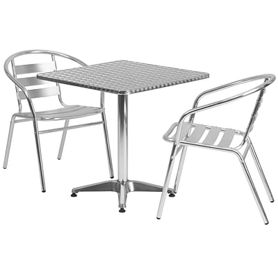 Flash Furniture 27.5 Square Aluminum Indoor/Outdoor Table w/2 Slat-Back Chairs (TLH28SQ017BCHR2)
