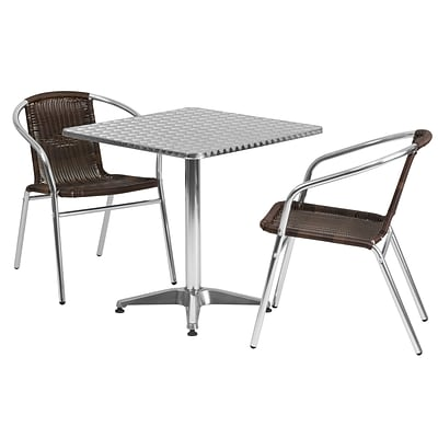 Flash Furniture 27.5 Square Aluminum Indoor/Outdoor Table with 2 Rattan Chairs (TLH28SQ020CHR2)