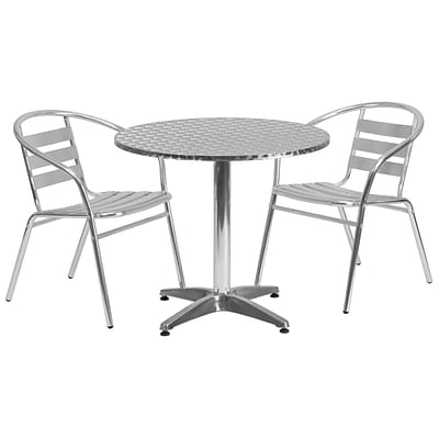 Flash Furniture 31.5 Round Aluminum Indoor/Outdoor Table with 2 Slat-Back Chairs (TLH32RD017BCHR2)