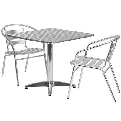 Flash Furniture 31.5 Square Aluminum Indoor-Outdoor Table w/2 Slat Back Chairs (TLH32SQ017BCHR2)