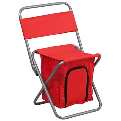 Flash Furniture Kids Fold Camping Chair w/Insulated Storage in Red, Silver Powder Coated Frame Fin