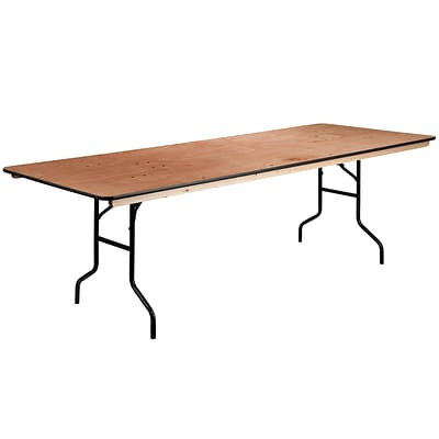 Flash Furniture 36Lx96W Rectangular Folding Banquet Table w/Clear Coated Wood Finished Top XA3696P
