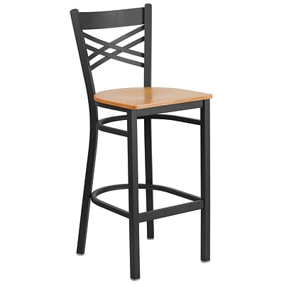 Flash Furniture Hercules Series 29 Black X Back Metal Restaurant Barstool, Natural Wood Seat,