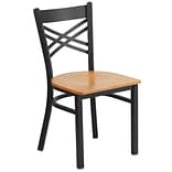 X-Back Metal Restaurant Chair Blk w/Nat