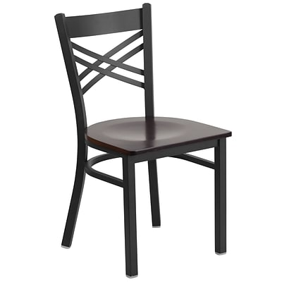Flash Furniture  Hercules Series Black X-Back Metal Restaurant Chair, Walnut Wood Seat XU6FOBXBKWALW