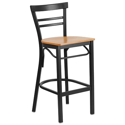 Flash Furniture Hercules Series 29 Black Ladder Back Metal Restaurant Barstool, Natural Wood