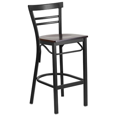 Flash Furniture Hercules Series Ladderback Metal Restaurant Barstool, Black w/Walnut Wood