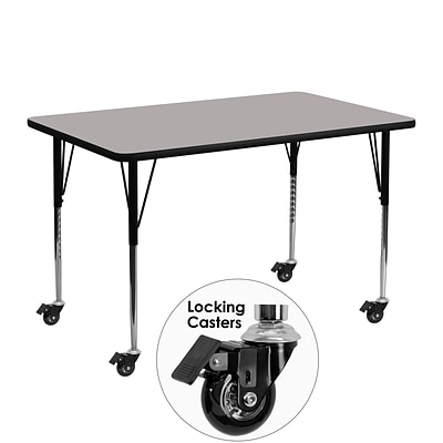 Flash Furniture Mobile 24Wx48L Rectangular Activity Table, 1.25 Gray Laminate Top, Adj Legs