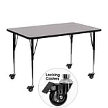 Flash Furniture Mobile 24Wx48L Rectangular Activity Table, Gray Laminate Top, Height-Adj Legs