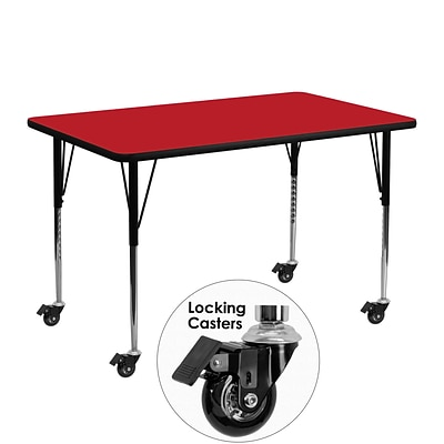 Flash Furniture 24Wx48Lx1.25D Mobile Rectangular Activity Table w/Laminate Top & Adj Legs, Red