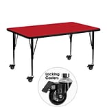 Flash Furniture 24x48x1.25 Mobile Rect Activity Table w/Laminate Top & Adj Preschool Legs, Red