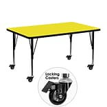 Flash Furniture Mobile 24x48 Rect Activity Table, 1.25 Yellow Laminate Top, Preschool Legs