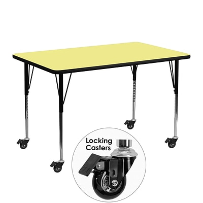 Flash Furniture Mobile 24Wx48L Rectangular Activity Table, Yellow Laminate Top, Height-Adj Legs