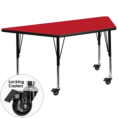 Flash Furniture Mobile 24x48 Trapezoid Activity Table, 1.25 Laminate Top, Preschool Legs, Red