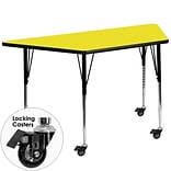 Flash Furniture Mobile 24Wx48L Trapezoid Activity Table, 1.25 Yellow Laminate Top, Adj Legs
