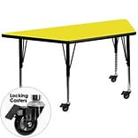 Flash Furniture Mobile 24x48 Trapezoid Activity Table, 1.25 Yellow Laminate Top, Preschool Legs