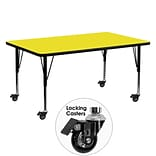 Flash Furniture Mobile 24x60 Rect Activity Table, 1.25 Yellow Laminate Top, Preschool Legs