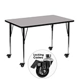 Flash Furniture Mobile 30Wx48L Rectangular Activity Table, Gray Laminate Top, Height-Adj Legs
