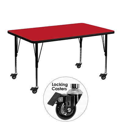 Flash Furniture Mobile 30x48 Rectangular Activity Table, 1.25 Red Laminate Top, Preschool Legs