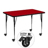 Flash Furniture Mobile 30Wx48L Rectangular Activity Table, Red Laminate Top, Height-Adj Legs