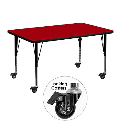 Flash Furniture Mobile 30Wx48L Rectangular Activity Table, Red Laminate Top, Adj Preschool Legs